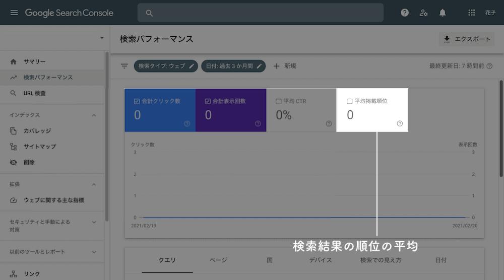 サーチコンソール SearchConsole 検索順位の平均